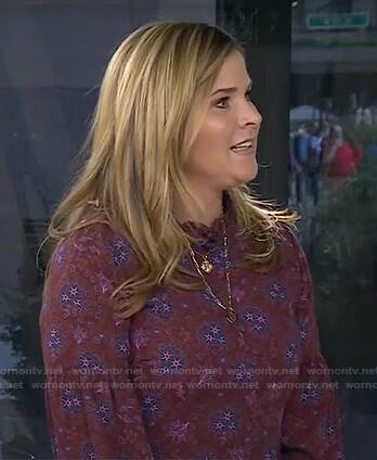 Jenna's burgundy floral print dress on Today