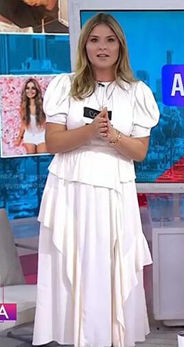 Jenna's white puff sleeve tie waist dress on Today