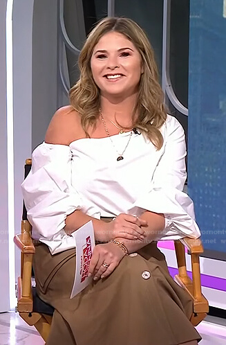 Jenna's white off-shoulder top and brown button front skirt on Today