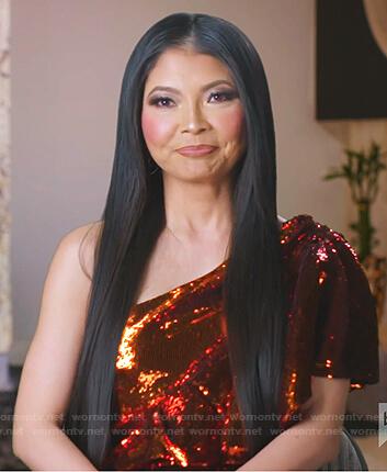 Jennie's orange sequin one-shoulder dress on The Real Housewives of Salt Lake City