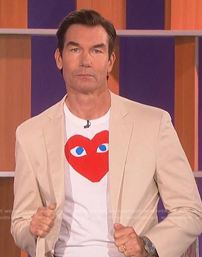 Jerry's white heart print tee on The Talk