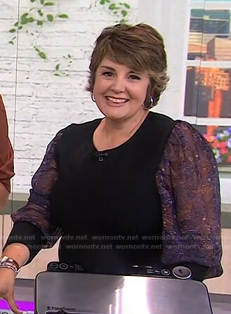 Jill Bauer's black printed sheer sleeve top on Today