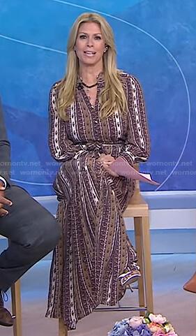 Jill's brown print striped maxi shirtdress on Today