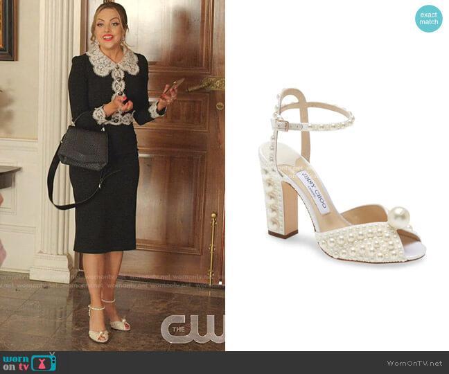 Sacaria Pearl-Embellished Sandals by Jimmy Choo worn by Fallon Carrington (Elizabeth Gillies) on Dynasty