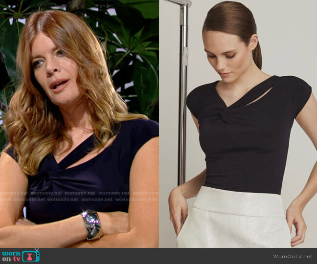 Joeffer Caoc Jersey Twist Front Top in Navy worn by Phyllis Summers (Michelle Stafford) on The Young & the Restless
