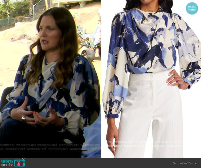 Nomadic Lifestyle Silk Cowlneck Blouse by Johanna Ortiz worn by Drew Barrymore  on The Drew Barrymore Show