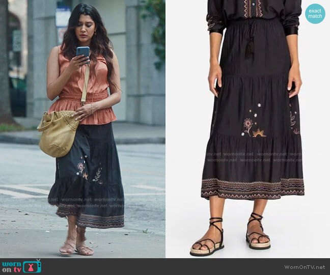 Maxi Tiered Skirt by Johnny Was worn by Leela Devi (Anuja Joshi) on The Resident