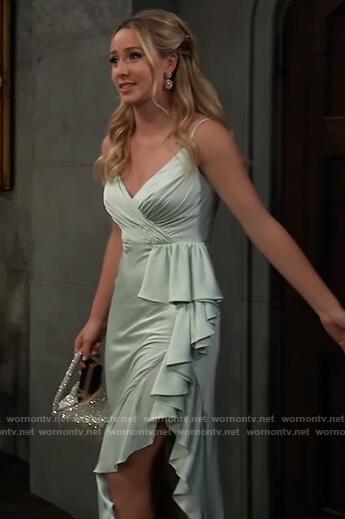 Josslyn's mint ruffle gown on General Hospital