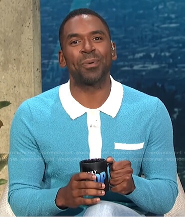 Justin's blue and white long sleeve polo shirt on E! News Daily Pop
