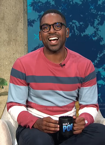 Justin's multicolor striped long sleeve top on E! News Daily Pop