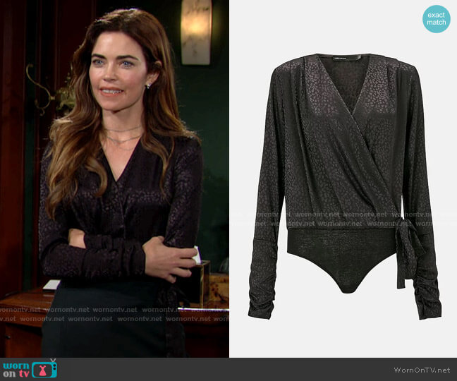 Karen Millen Jacquard Satin Bodysuit worn by Victoria Newman (Amelia Heinle) on The Young & the Restless