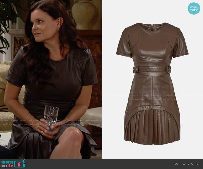 Karen Millen Leather Military Pleated Mini Dress worn by Katie Logan (Heather Tom) on The Bold & the Beautiful
