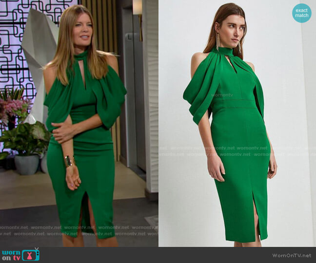 Karen Millen Compact Stretch Viscose Cold Shoulder Dress worn by Phyllis Summers (Michelle Stafford) on The Young & the Restless