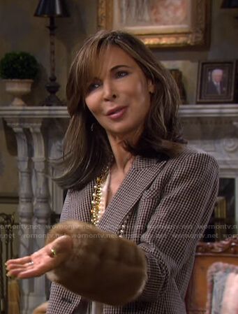 Kate's brown blazer with fur cuffs on Days of our Lives