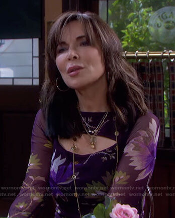 Kate's purple floral cutout dress on Days of our Lives