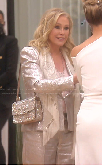 Kathy's metallic suit and embellished shoulder bag on The Real Housewives of Beverly Hills