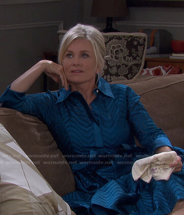 Kayla's teal eyelet shirtdress on Days of our Lives