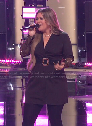 Kelly's black mesh sleeve blazer dress on The Voice