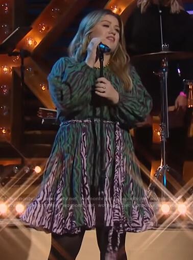 Kelly's green zebra stripe dress on The Kelly Clarkson Show