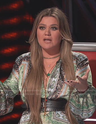 Kelly's green printed v-neck dress on The Voice