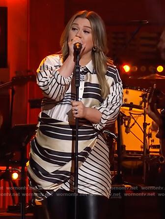 Kelly's mixed stripe mini dress on The Kelly Clarkson Show
