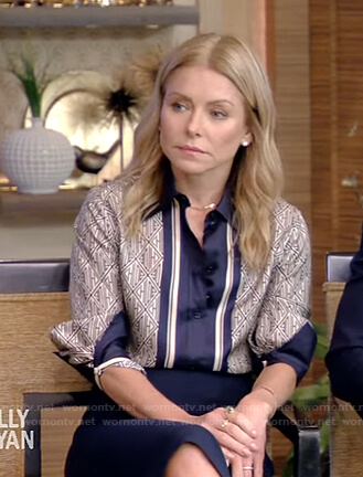 Kelly's navy printed blouse and pencil skirt on Live with Kelly and Ryan