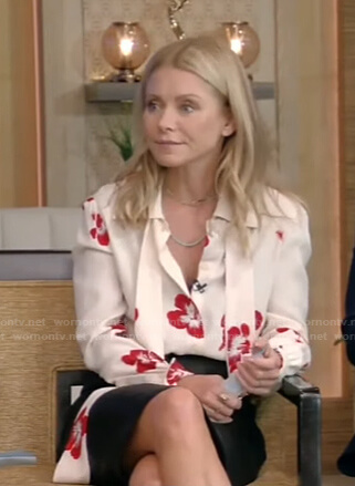 Kelly's white floral tie neck blouse on Live with Kelly and Ryan