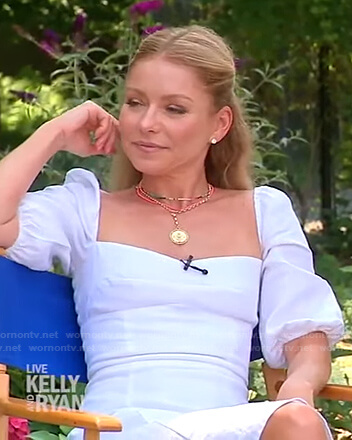 Kelly's white puff sleeve midi dress on Live with Kelly and Ryan