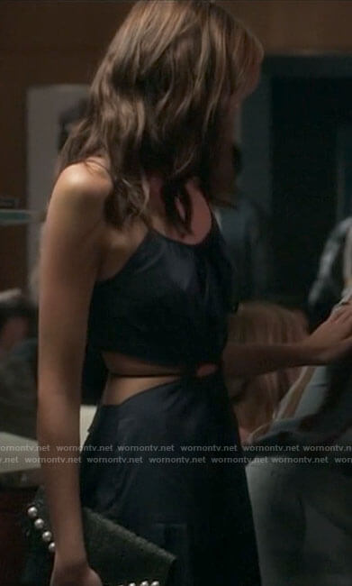Kendall's navy blue dress with cutouts on American Horror Story