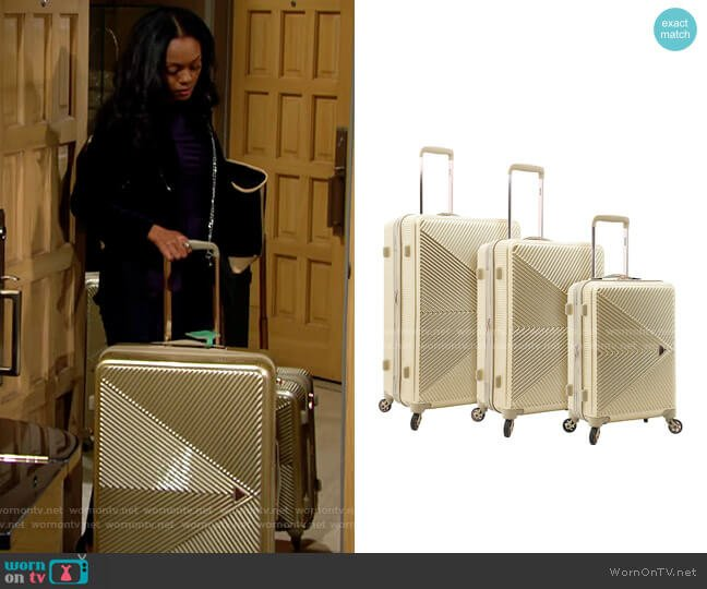 Kensie Dawn Hardside 3-Piece Spinner Luggage Set worn by Amanda Sinclair (Mishael Morgan) on The Young & the Restless