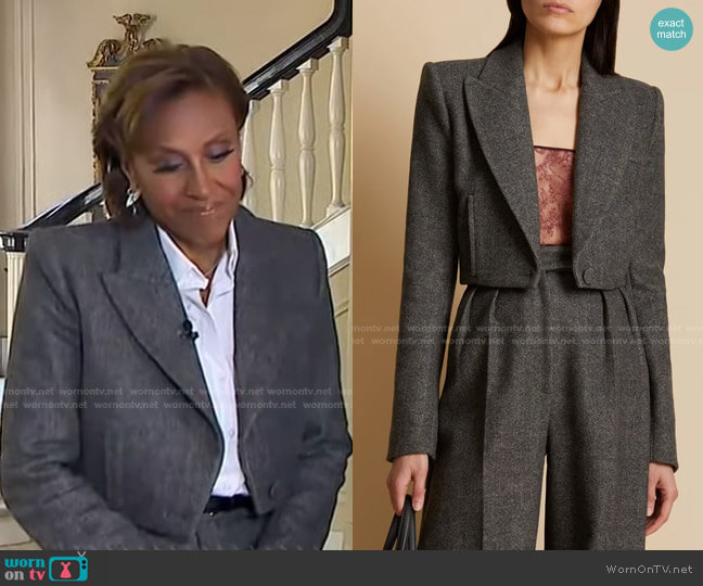 Lucille Cropped Wool Blazer by Khaite worn by Robin Roberts  on Good Morning America