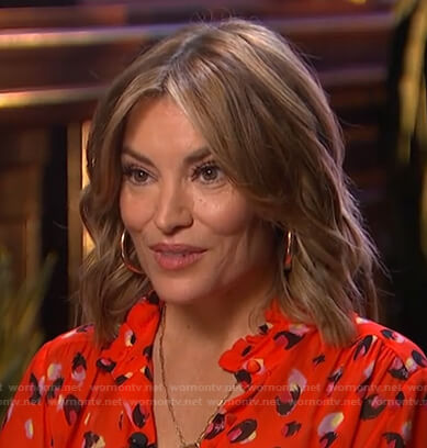 Kit's red print blouse on Access Hollywood