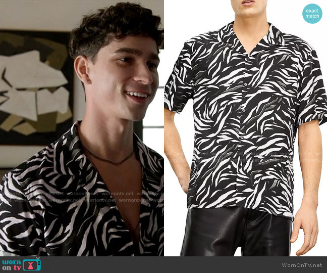 The Kooples Zebra Camp Shirt worn by Troy on American Horror Story