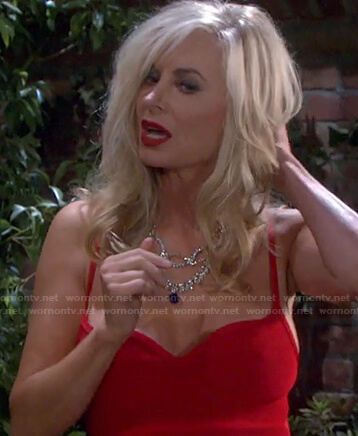 Kristen's red sweetheart dress on Days of our Lives: Beyond Salem