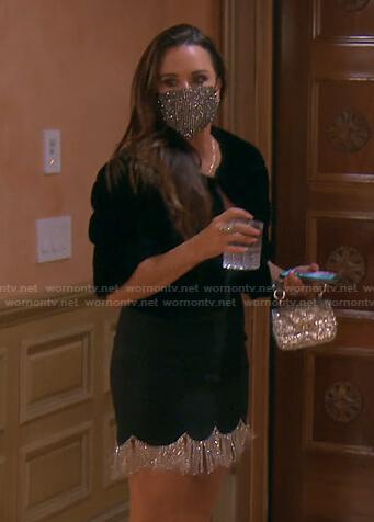 Kyle's black crystal fringe hem dress on The Real Housewives of Beverly Hills