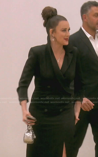 Kyle's black tuxedo maxi dress on The Real Housewives of Beverly Hills
