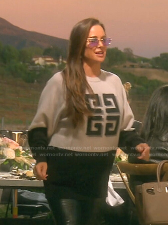 Kyle's grey and black colorblock sweater on The Real Housewives of Beverly Hills
