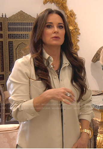 Kyle's ivory leather shirt on The Real Housewives of Beverly Hills