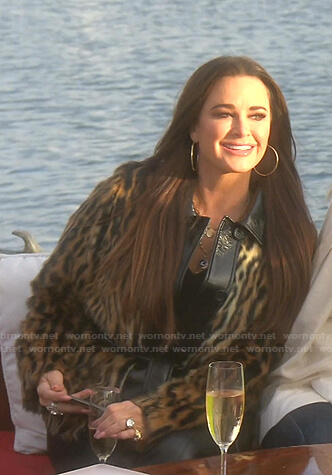 Kyle's leopard fur jacket with leather collar on The Real Housewives of Beverly Hills