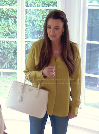 Kyle's yellow v-neck satin blouse on The Real Housewives of Beverly Hills