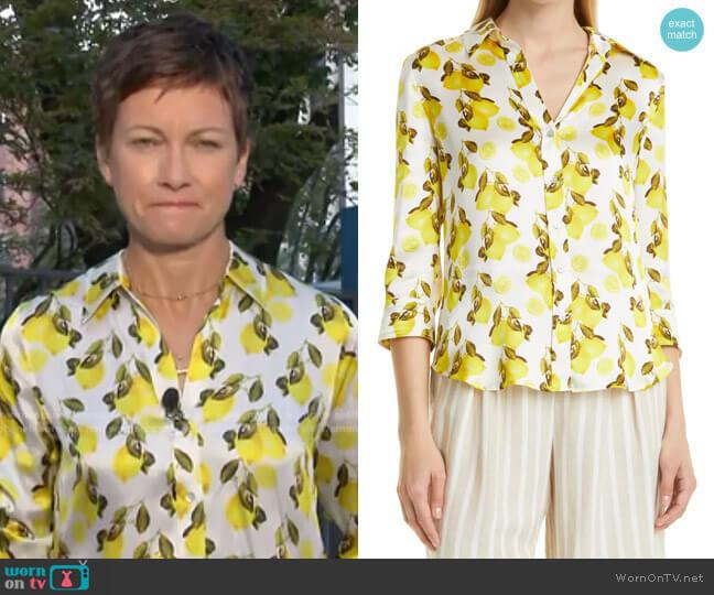 Dani Lemon Print Silk Blouse by L'Agence worn by Stephanie Gosk  on Today