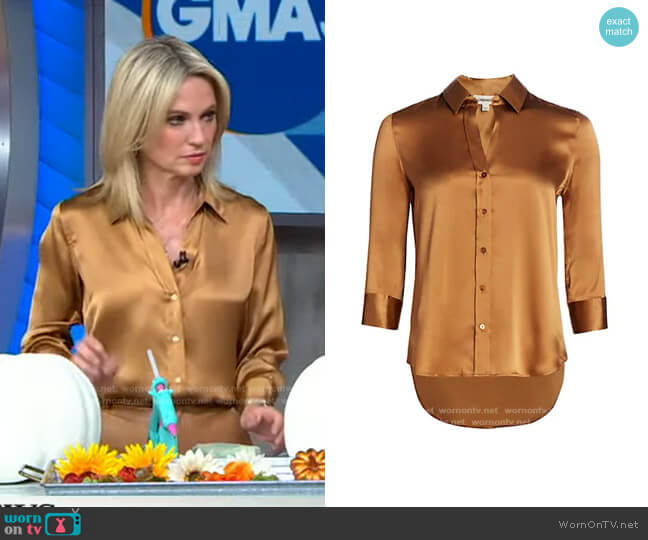 Dani Three-Quarter Sleeve Silk Blouse by L'Agence worn by Amy Robach  on Good Morning America