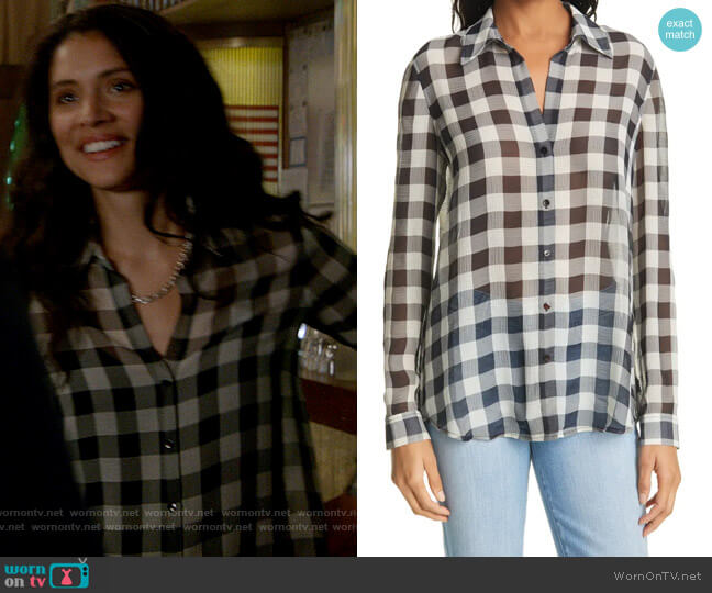 L'Agence Argo Buffalo Plaid Textured Button-Up Blouse worn by Stella Kidd (Miranda Rae Mayo) on Chicago Fire