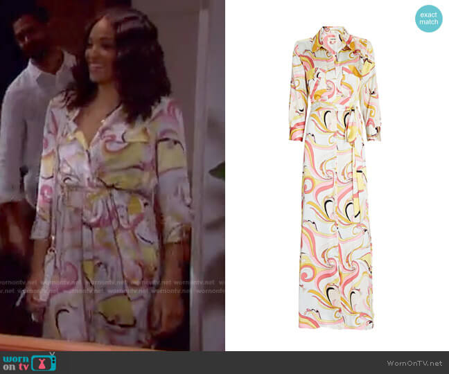 Cameron Silk Maxi Shirt Dress by L'Agence worn by Lani Price (Sal Stowers) on Days of our Lives