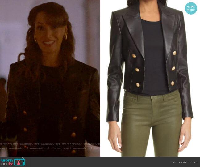 L'Agence Inez Crop Leather Blazer worn by Bette Porter (Jennifer Beals) on The L Word Generation Q
