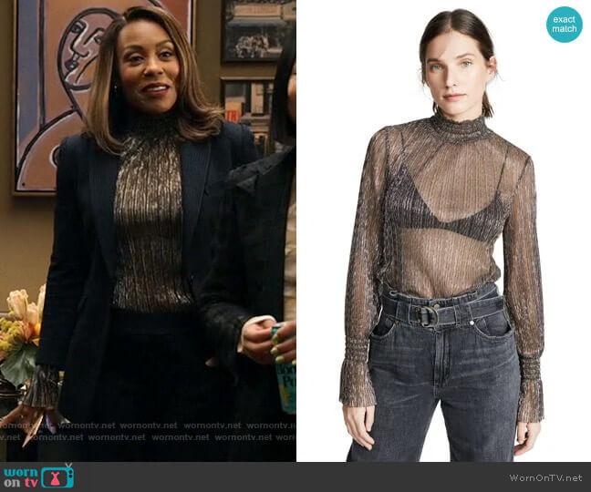 L'Agence Paola Blouse worn by Mia Jordan (Karen Pittman) on The Morning Show