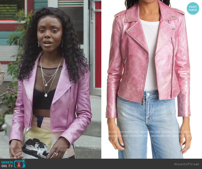 Pink Leather Moto Jacket by L'Agence worn by Josie McCoy (Ashleigh Murray) on Riverdale