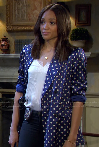 Lani's blue printed blazer on Days of our Lives