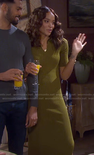 Lani's khaki ribbed polo dress on Days of our Lives