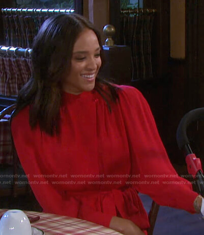 Lani's red long sleeve tie waist dress on Days of our Lives